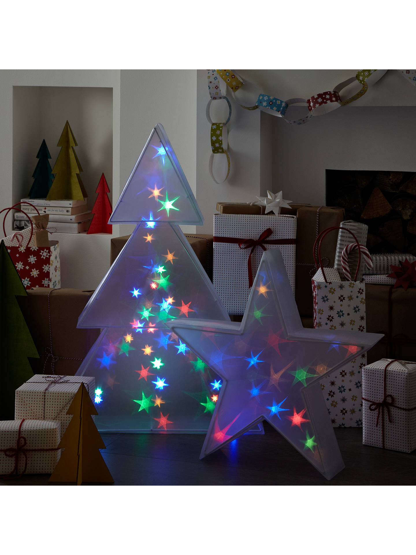 buyjohn lewis indoor holographic christmas tree light h75cm multi online at johnlewiscom - Holographic Christmas Decorations