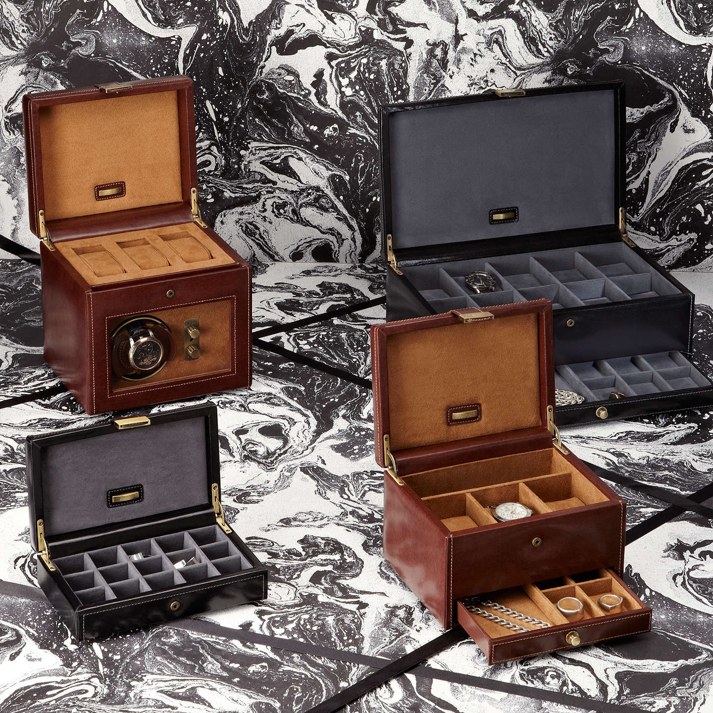 BuyDulwich Designs Heritage 10-section Watch Box, Brown Online at johnlewis.com
