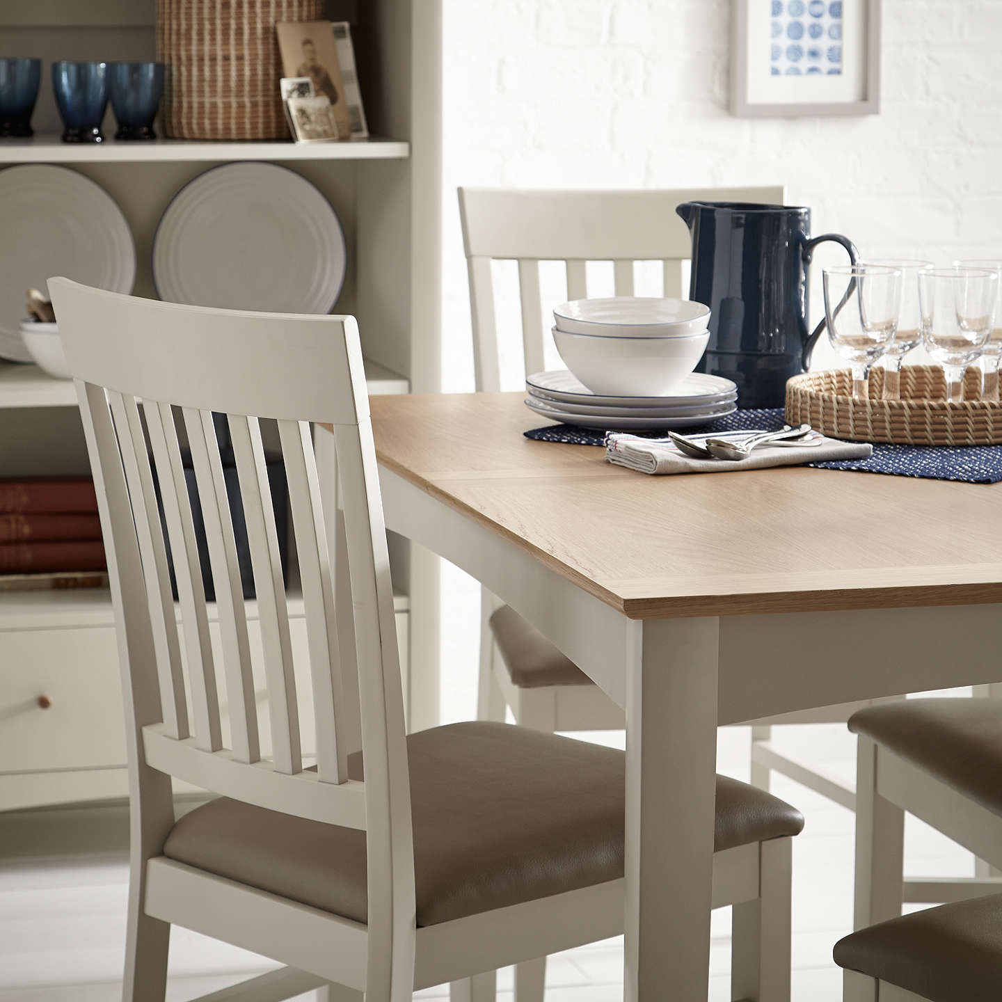 BuyJohn Lewis Alba 4-6 Seater Extending Dining Table, Soft Grey/Oak Online at johnlewis.com