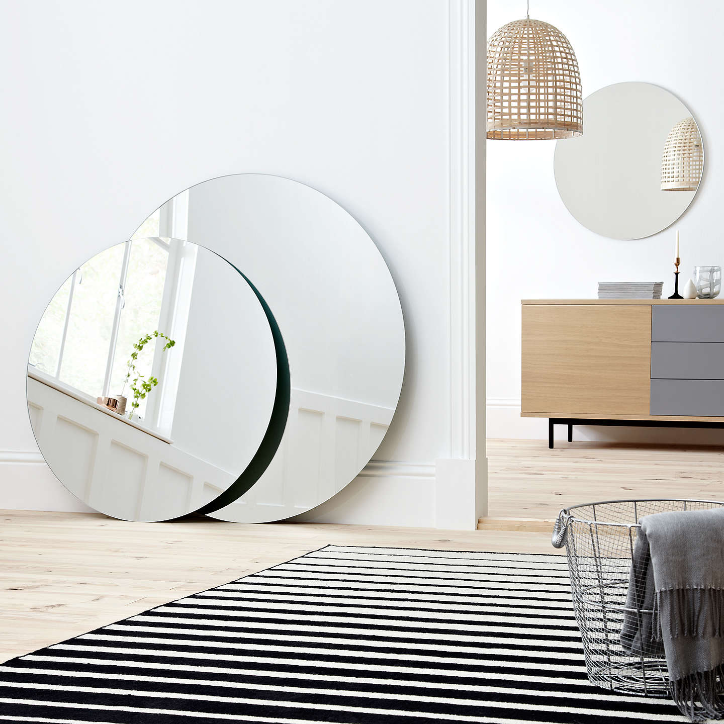 john lewis scandi round wall mirror at john lewis. Black Bedroom Furniture Sets. Home Design Ideas