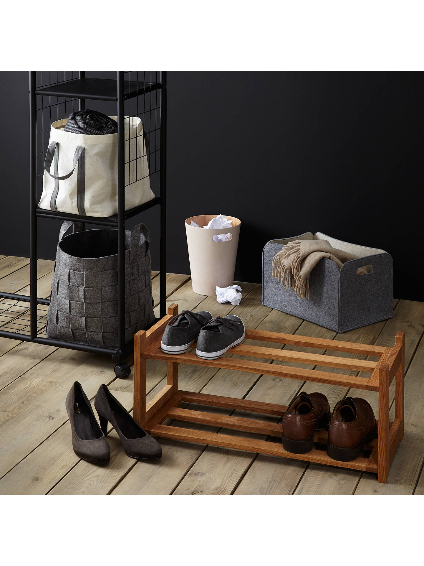 Buy John Lewis & Partners Oak Wood Shoe Rack, 2 Tier Online at johnlewis.com