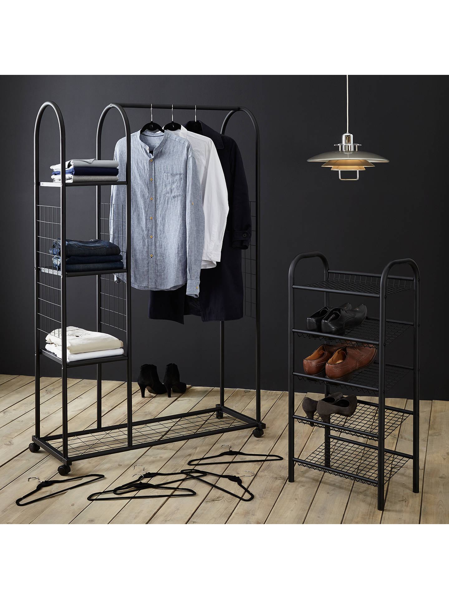 BuyJohn Lewis Flocked Jacket Hanger, Black, Set of 10 Online at johnlewis.com