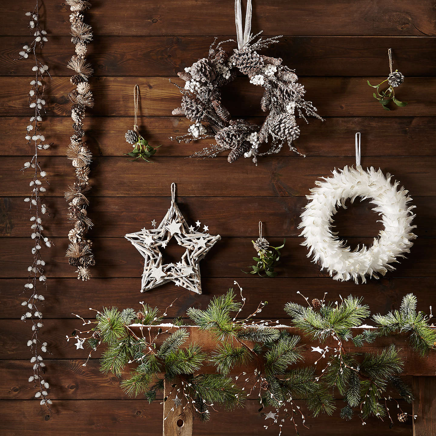 Buyjohn Lewis Snowdrift Frosted Mini Pine Cone Garland, 180Cm Online