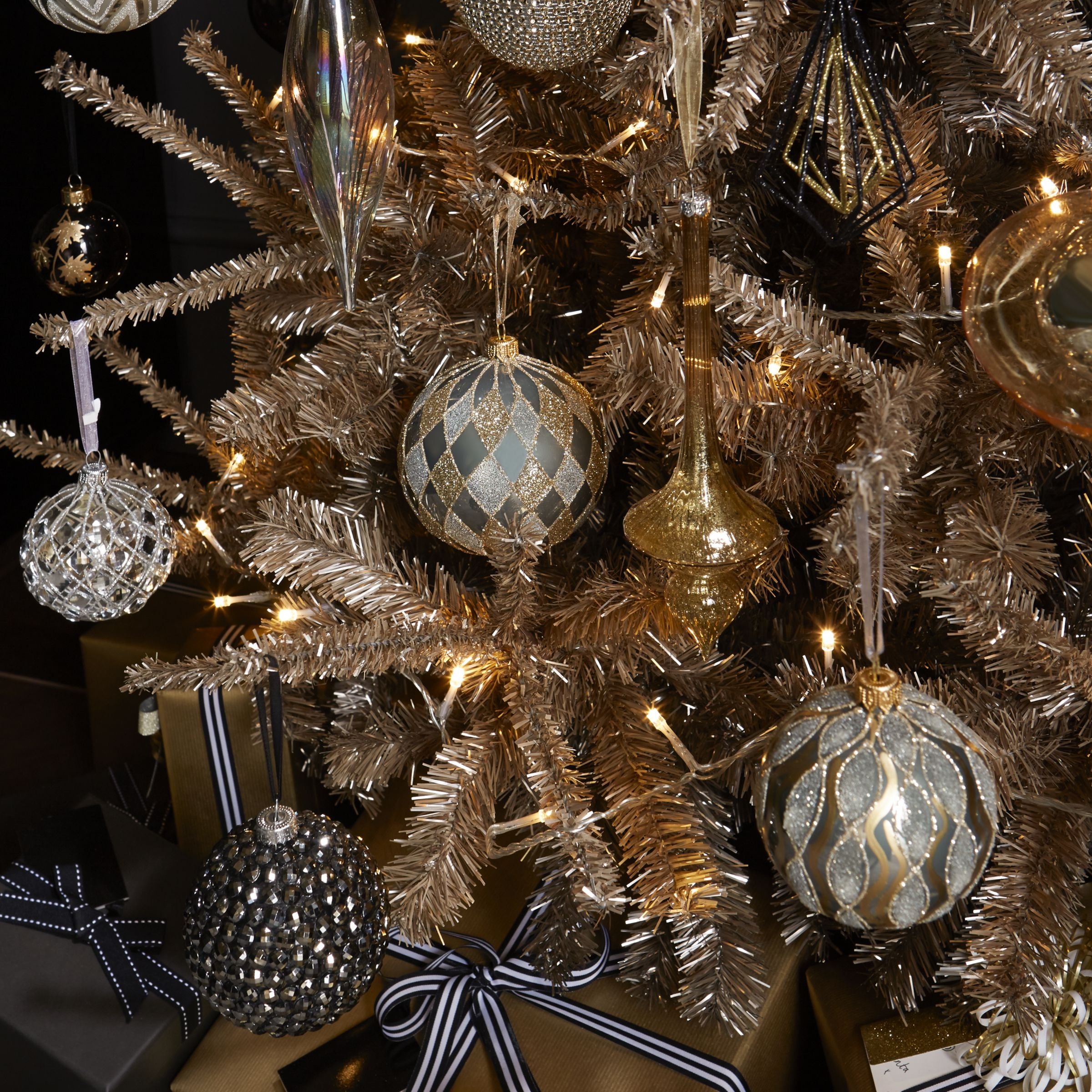 John Lewis Boutique Glass Diamond Bauble Large Grey And Gold At John Lewis Partners
