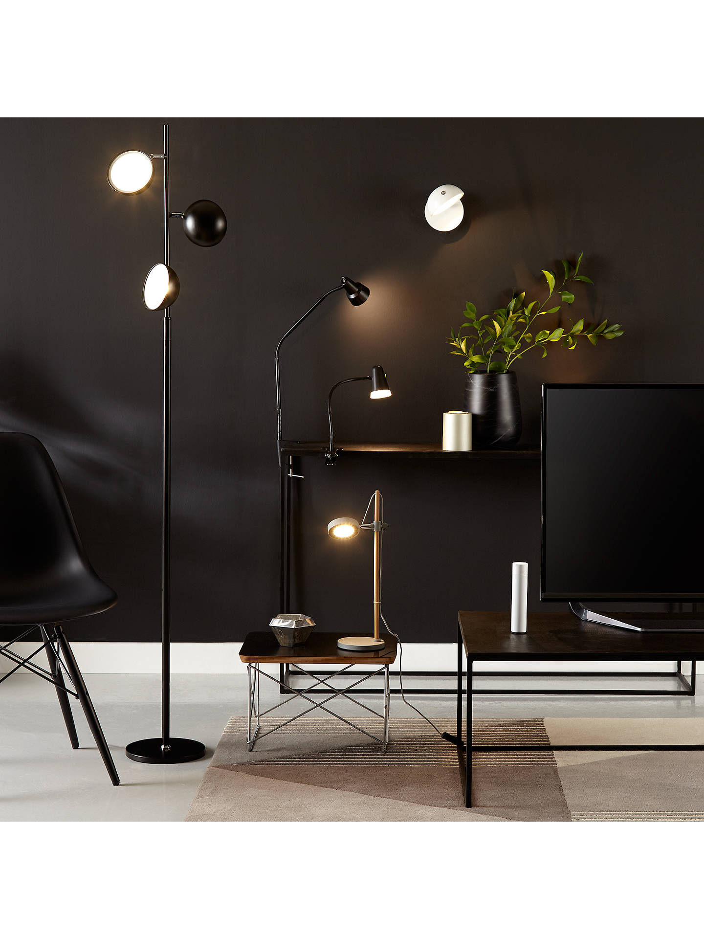 Buy John Lewis & Partners Zadie LED Clip on Desk Lamp with Clamp, Black Online at johnlewis.com