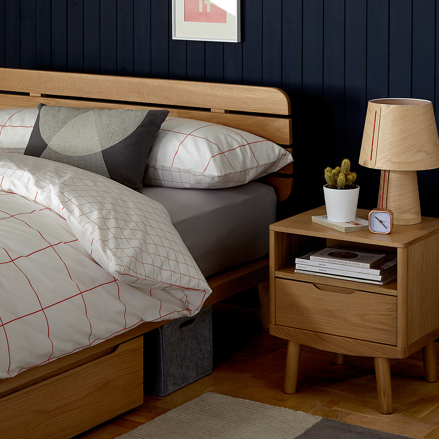Buy House by John Lewis Bow 1 Drawer Bedside Table Oak