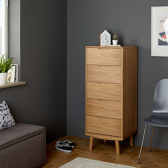 BuyHouse by John Lewis Bow 5 Drawer Tall Boy Chest, Oak Online at johnlewis.com
