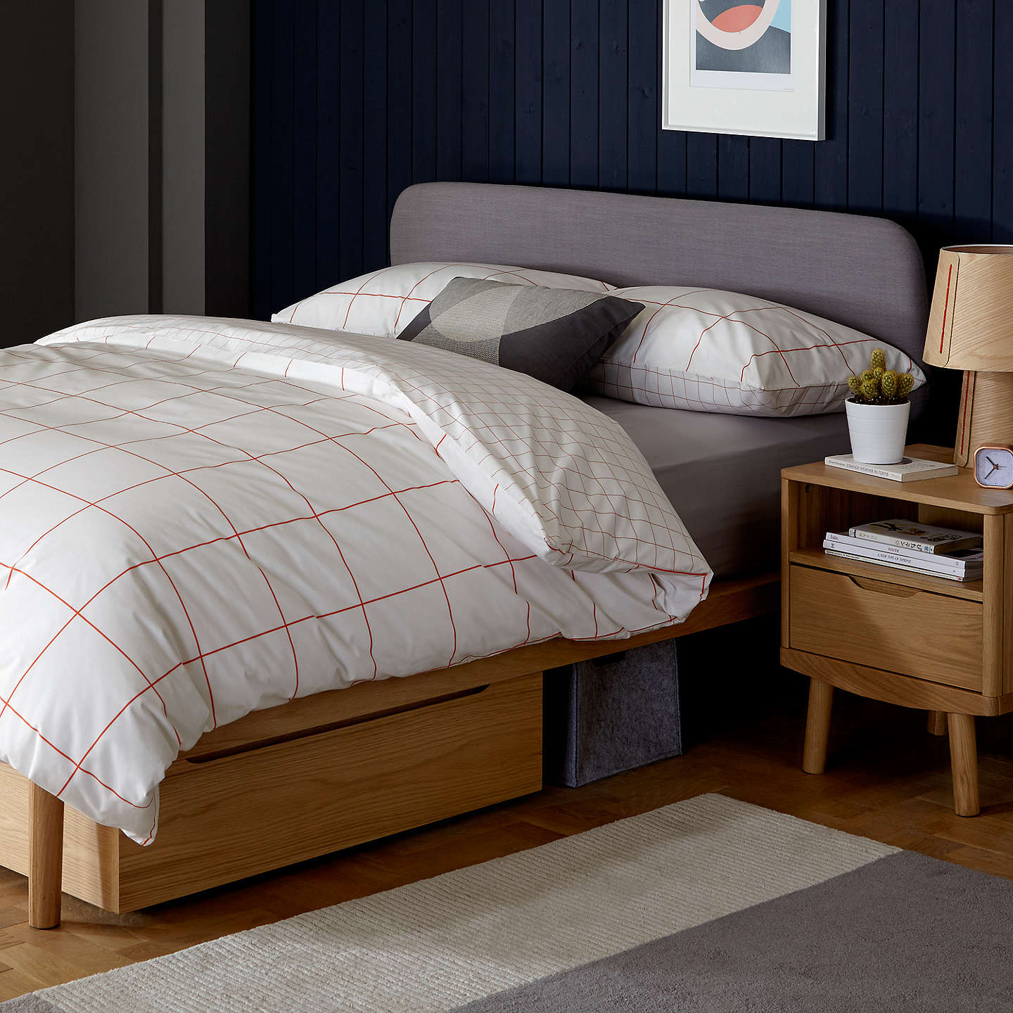 House By John Lewis Bow Upholstered Headboard Bed Frame King Size Natural Online At