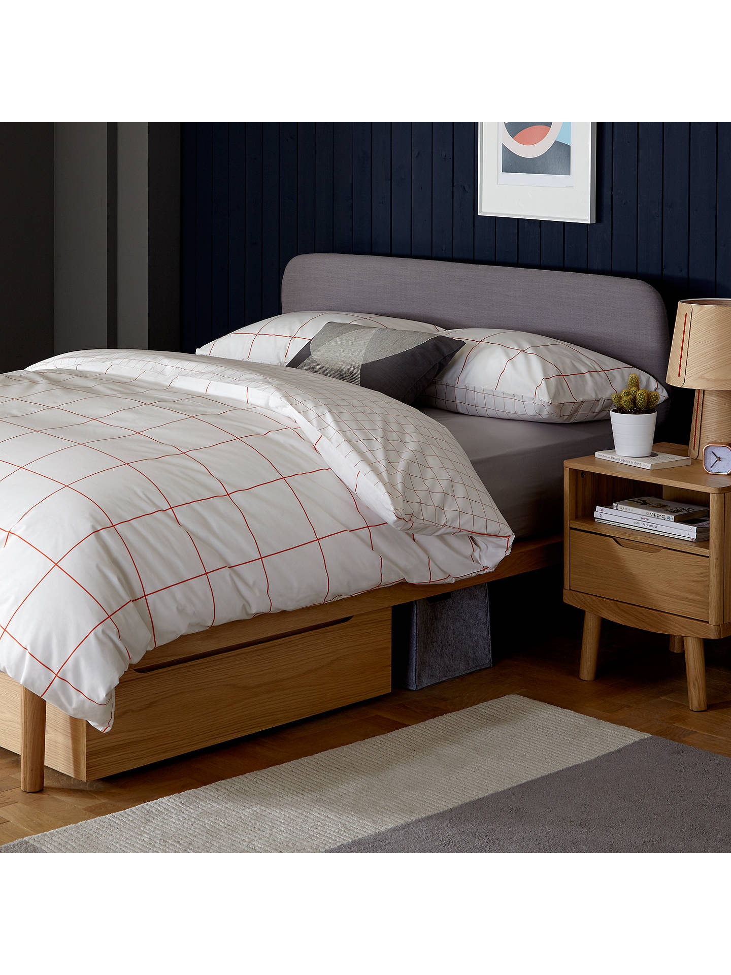 Buyhouse by john lewis bow upholstered headboard bed frame king size oak online at