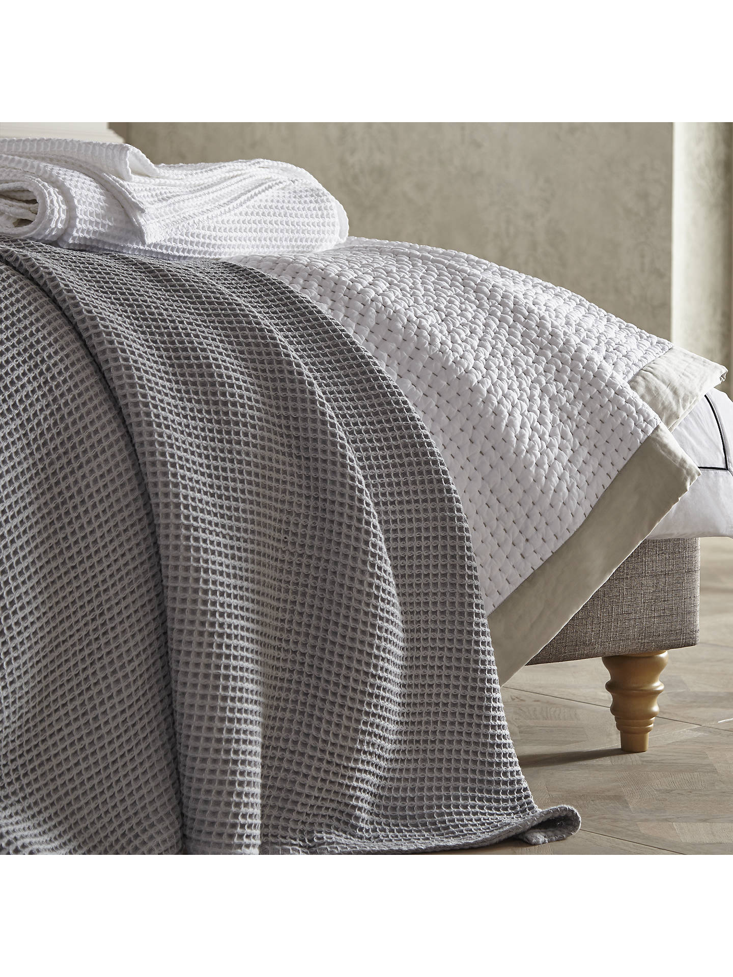 BuyJohn Lewis & Partners Waffle Bedspread, L250 x W230, Pale Grey Online at johnlewis.com