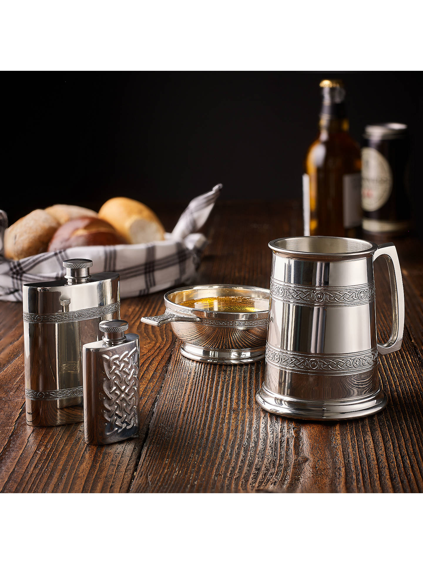 Buy John Lewis & Partners Pewter Kidney Celtic Hip Flask, 170mlFlask Online at johnlewis.com