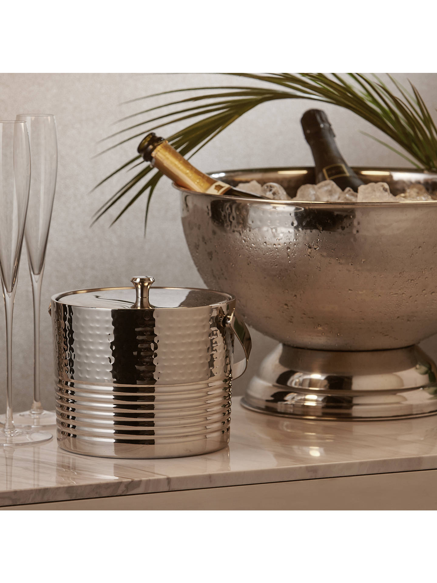 Buy John Lewis & Partners Large Hammered Stainless Steel Wine/Champagne Bucket Online at johnlewis.com