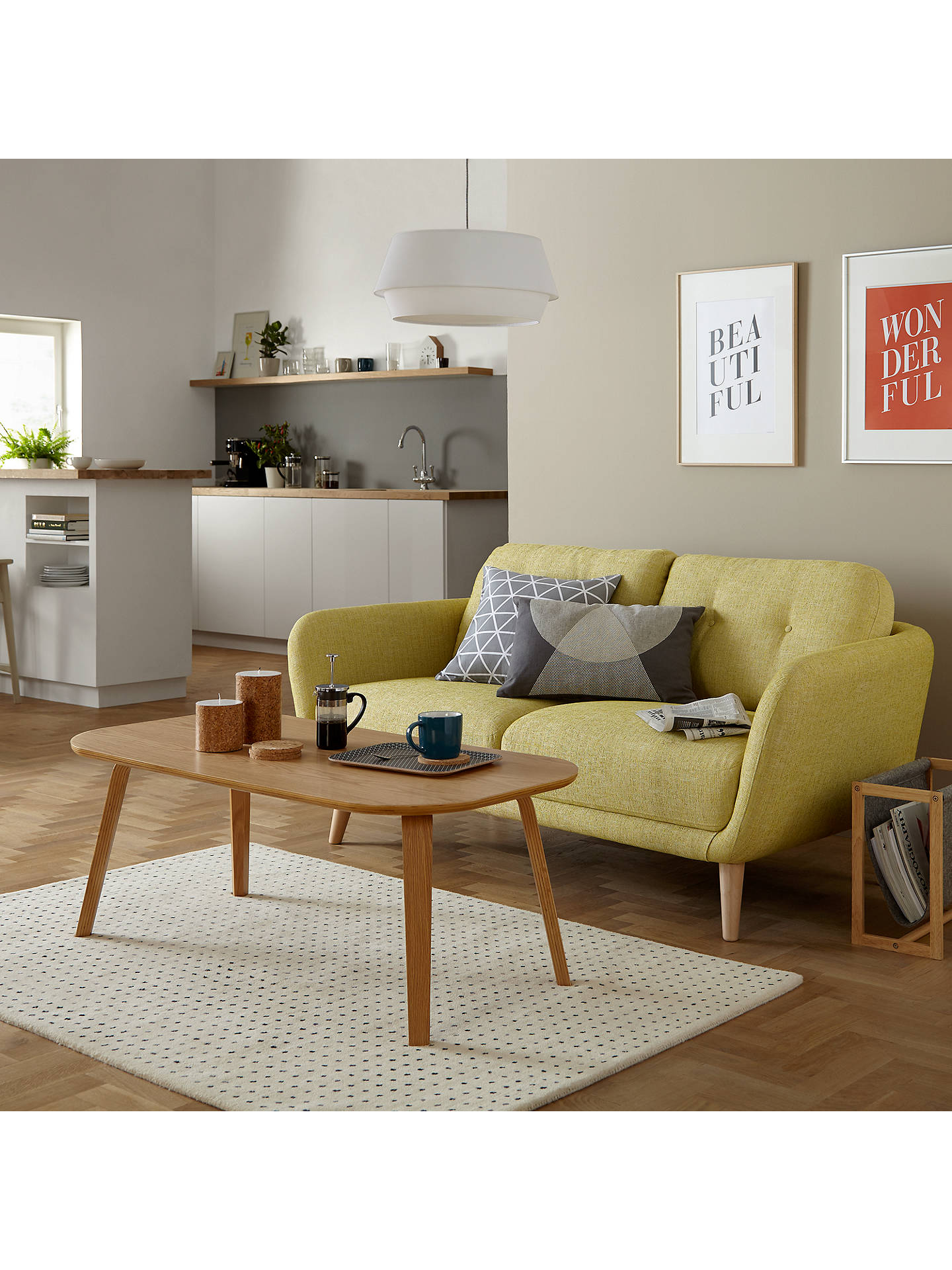 BuyHouse by John Lewis Arlo Small 2 Seater Sofa, Light Leg, Catrin Navy Online at johnlewis.com