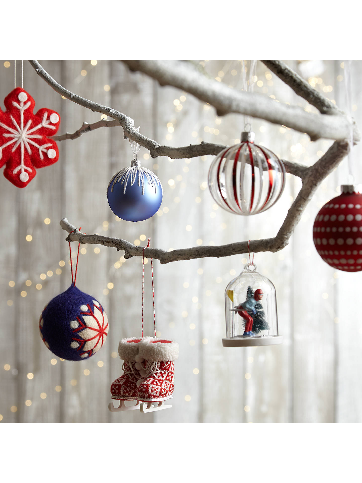 John Lewis Christmas Decorations.John Lewis Chamonix Red And White Stripe Bauble Clear At