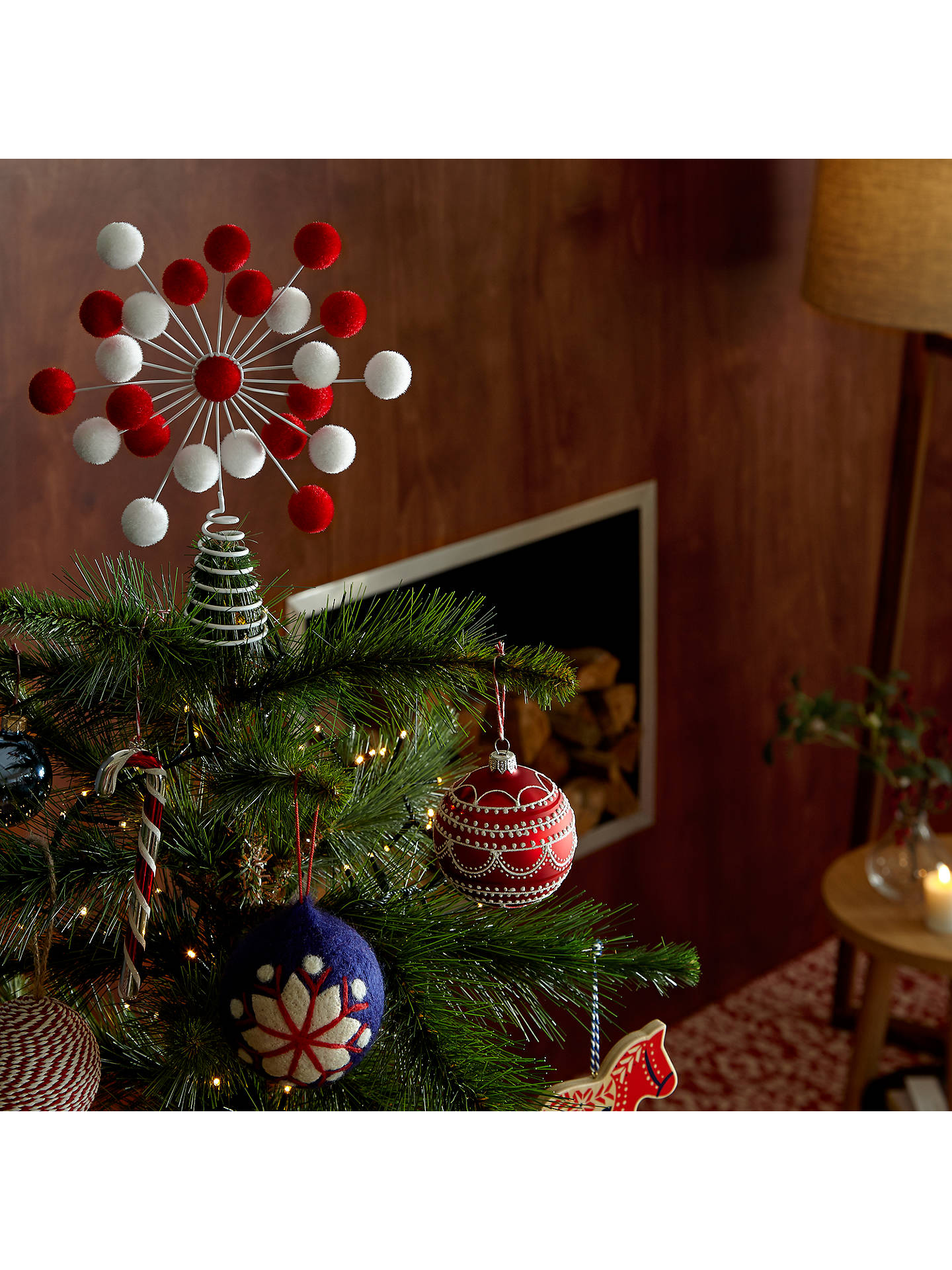 buyjohn lewis chamonix glitter candy cane tree decoration red white online at johnlewis