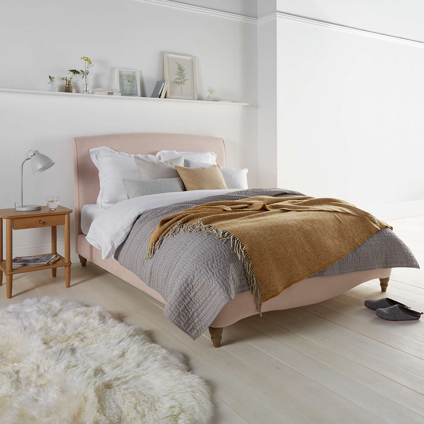 BuyFudge Bed Frame by Loaf at John Lewis in Brushed Cotton, Double, Faded Pink Online at johnlewis.com