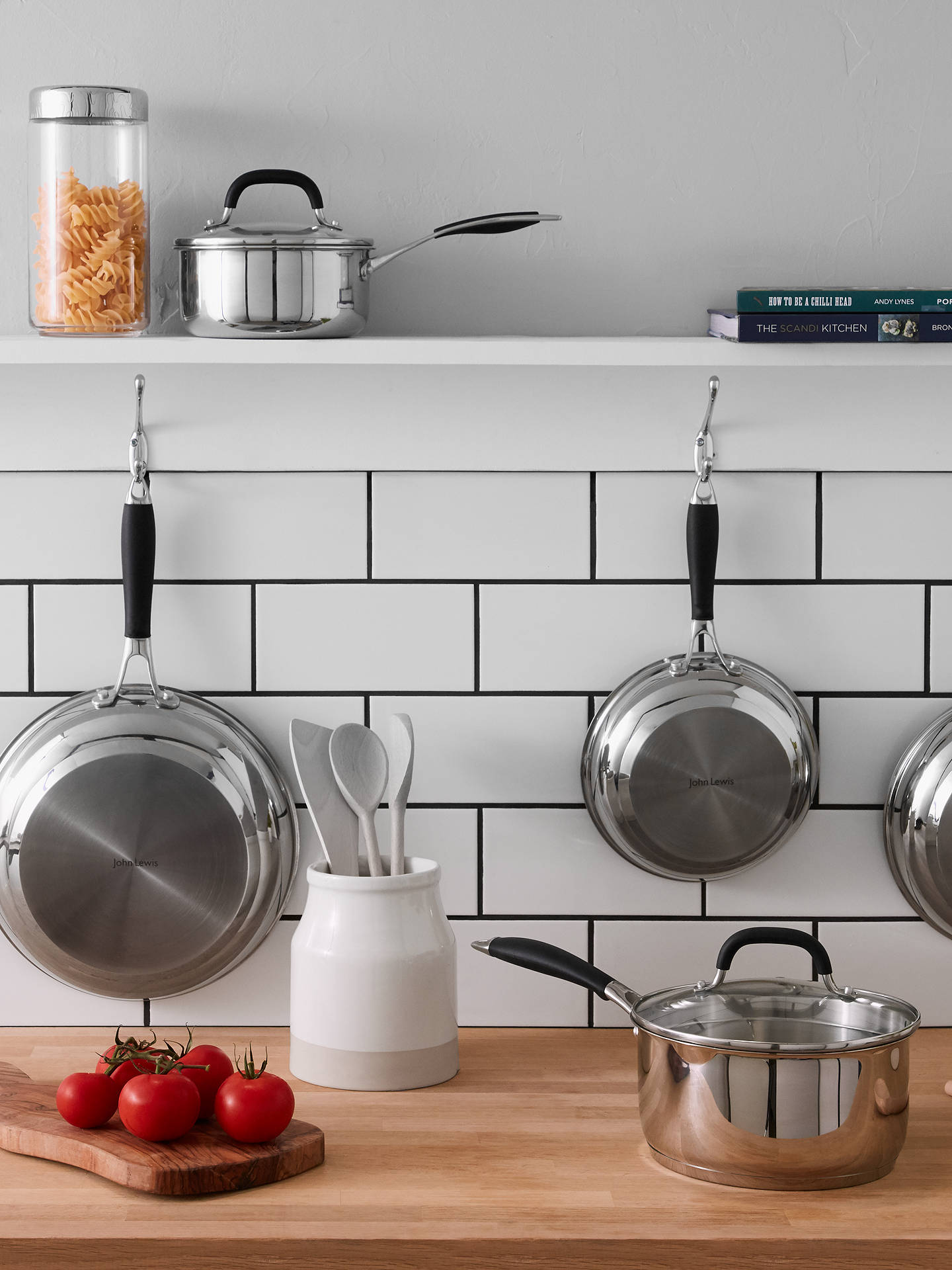 Buy John Lewis & Partners 'The Pan' Stainless Steel Lidded Saucepans and Pan Set, 5 Pieces Online at johnlewis.com