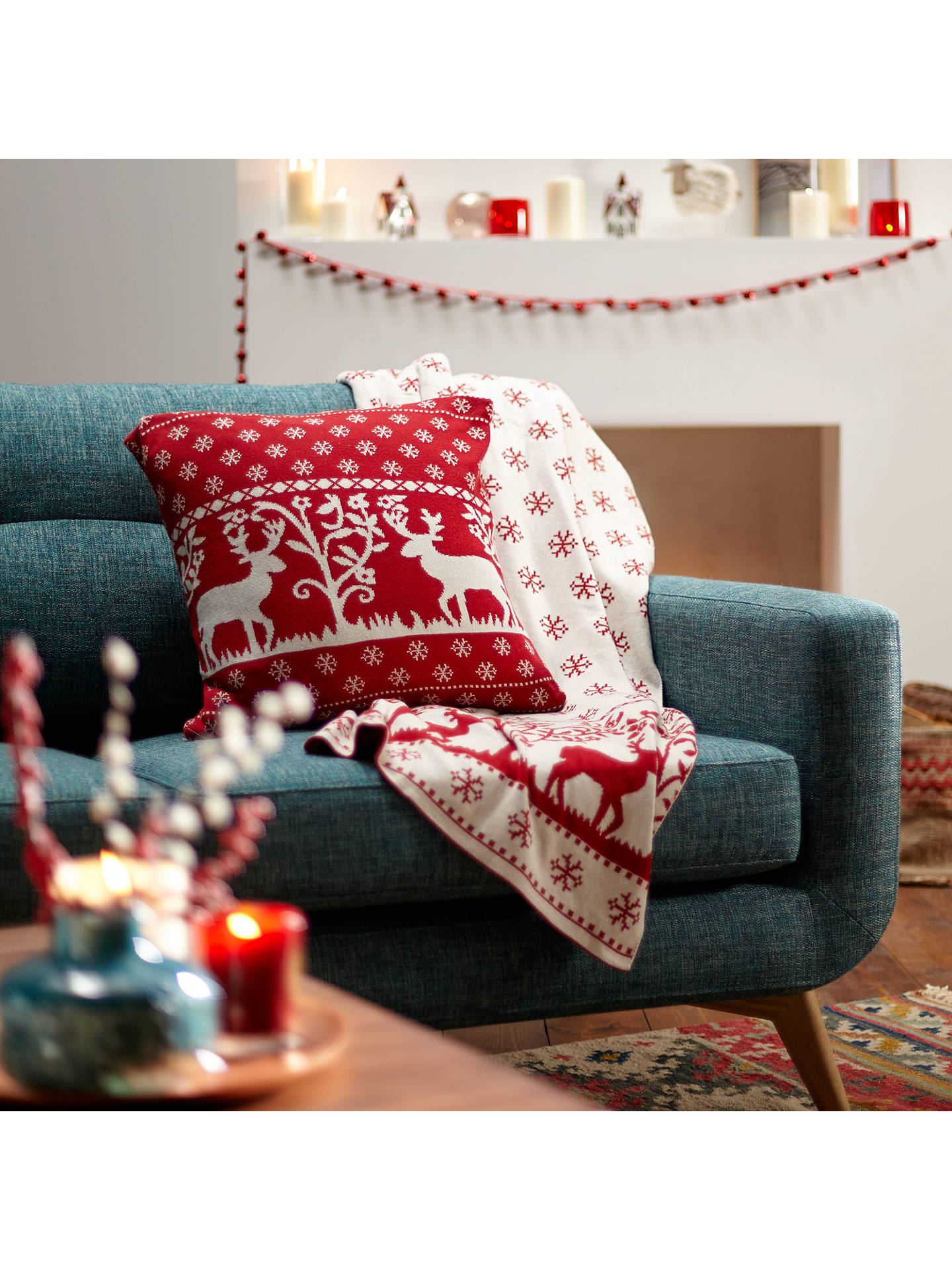 Buy John Lewis Knitted Reindeer Cushion, Red Online at johnlewis.com