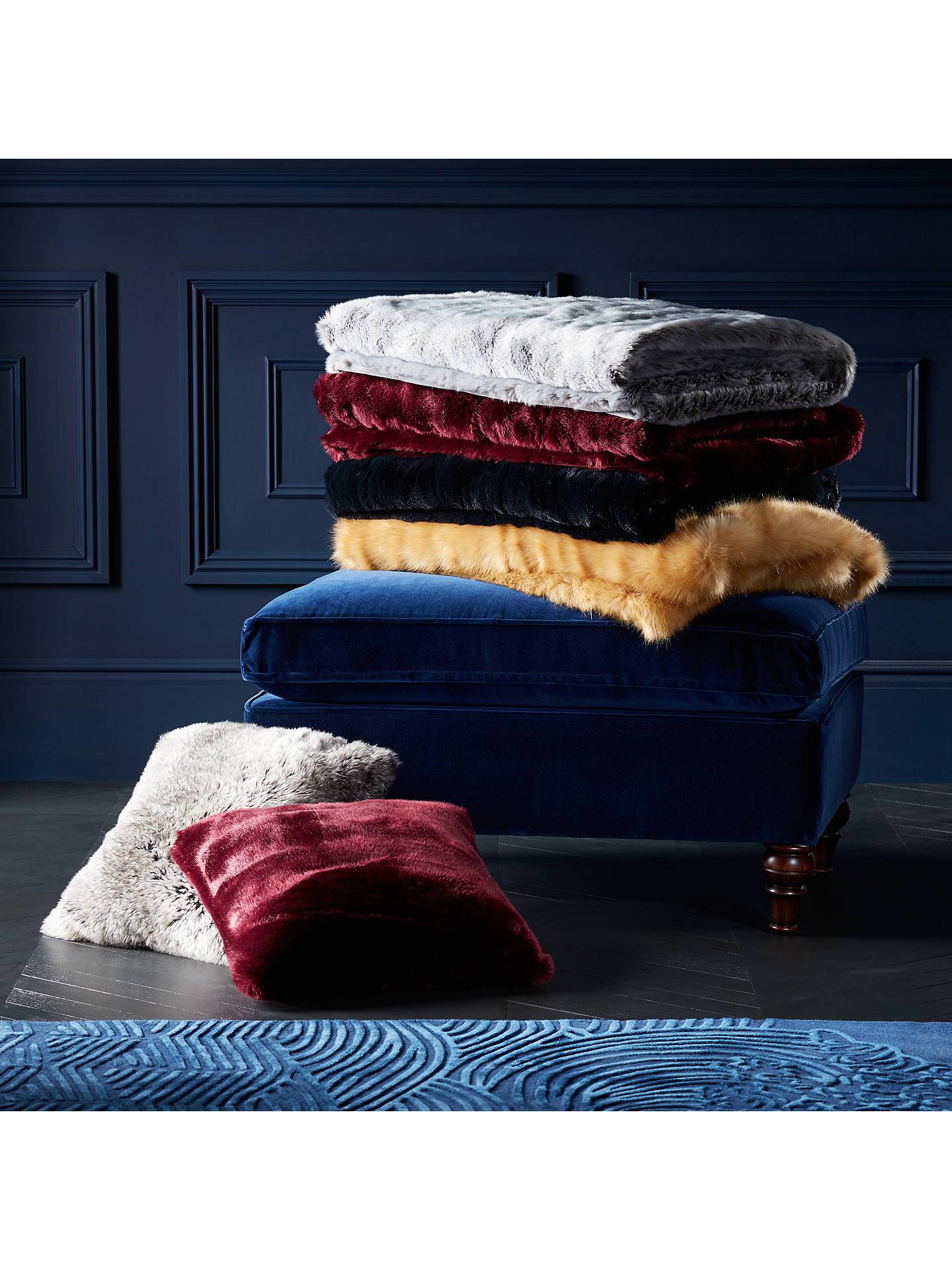 Buy John Lewis & Partners Faux Fur Cushion, Ice Grey Online at johnlewis.com