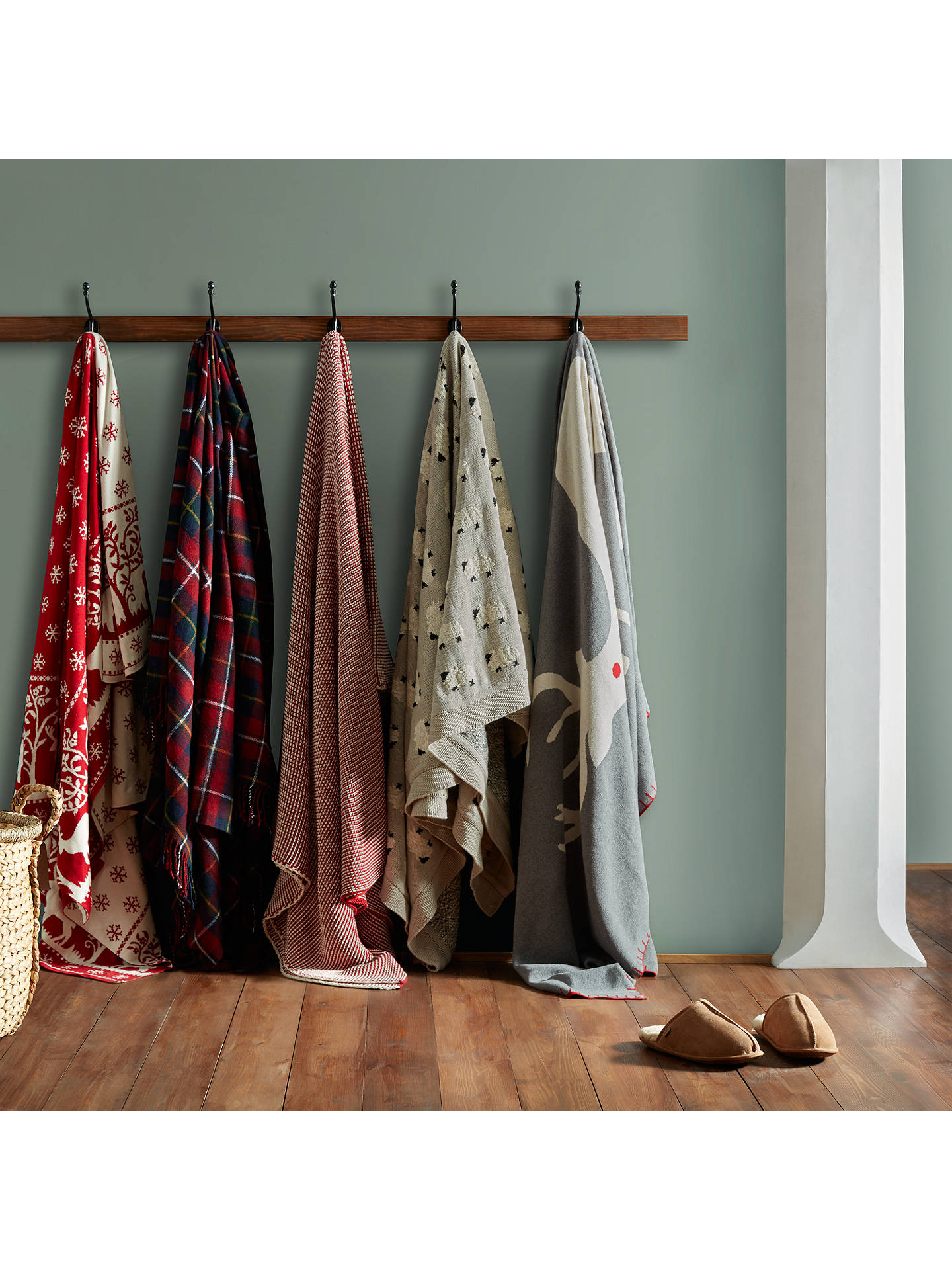 Buy John Lewis Christmas Woodland Throw, Red Online at johnlewis.com
