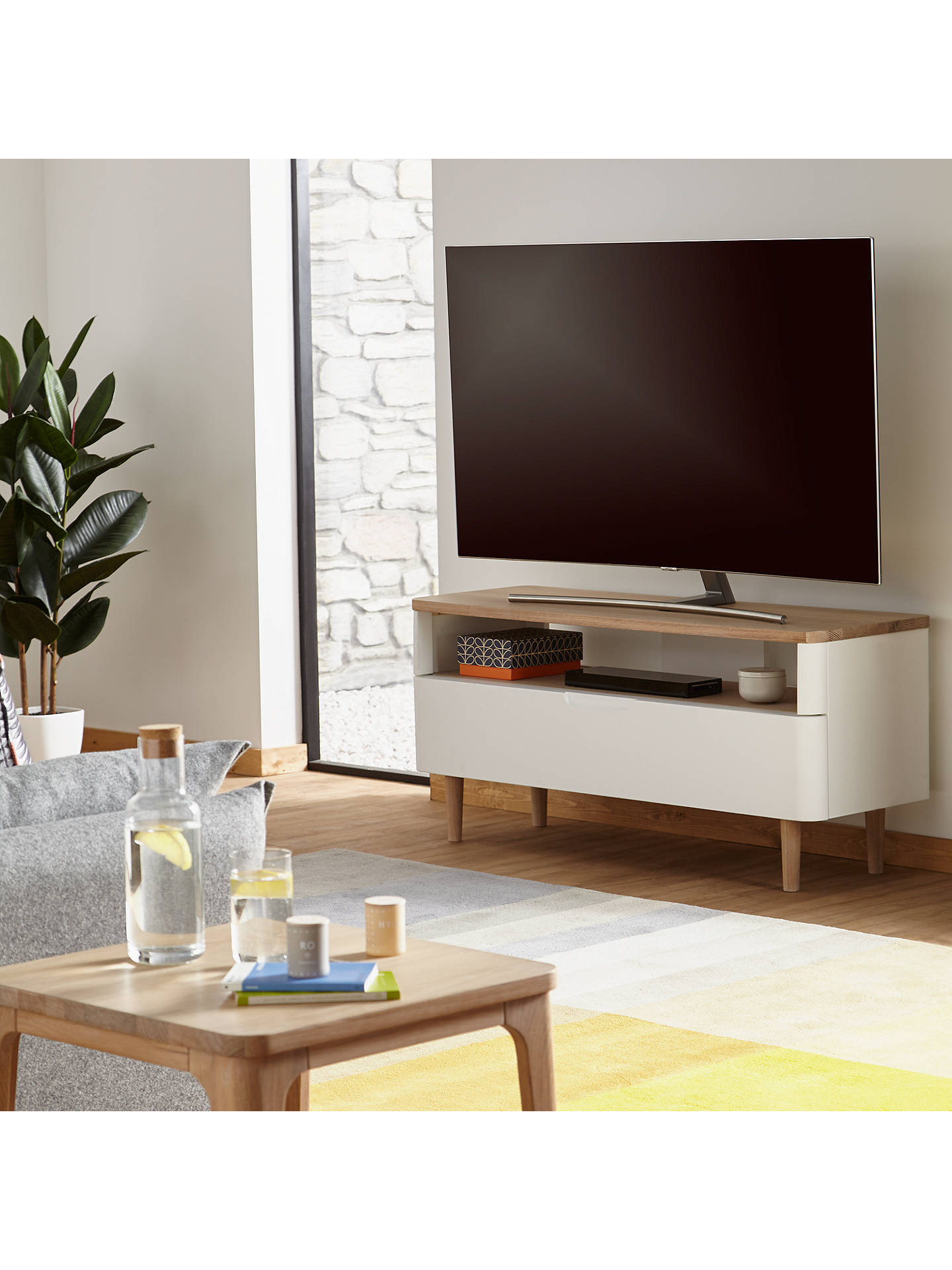 "Ebbe Gehl for John Lewis Mira TV Stand for TVs up to 60"", White/Oak at John  Lewis & Partners"