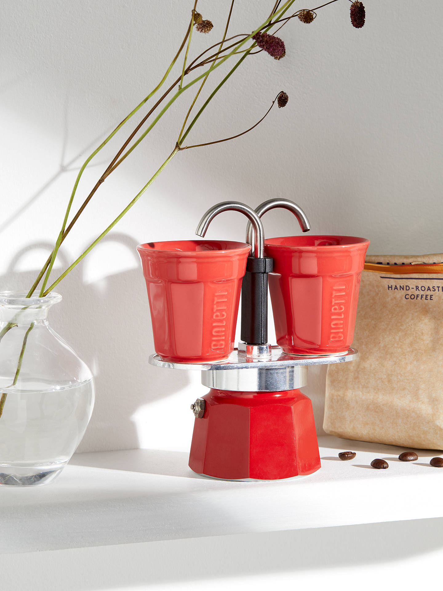 BuyBialetti Mini Express Gas Hob Coffee Maker with 2 Cups, Red Online at johnlewis.com