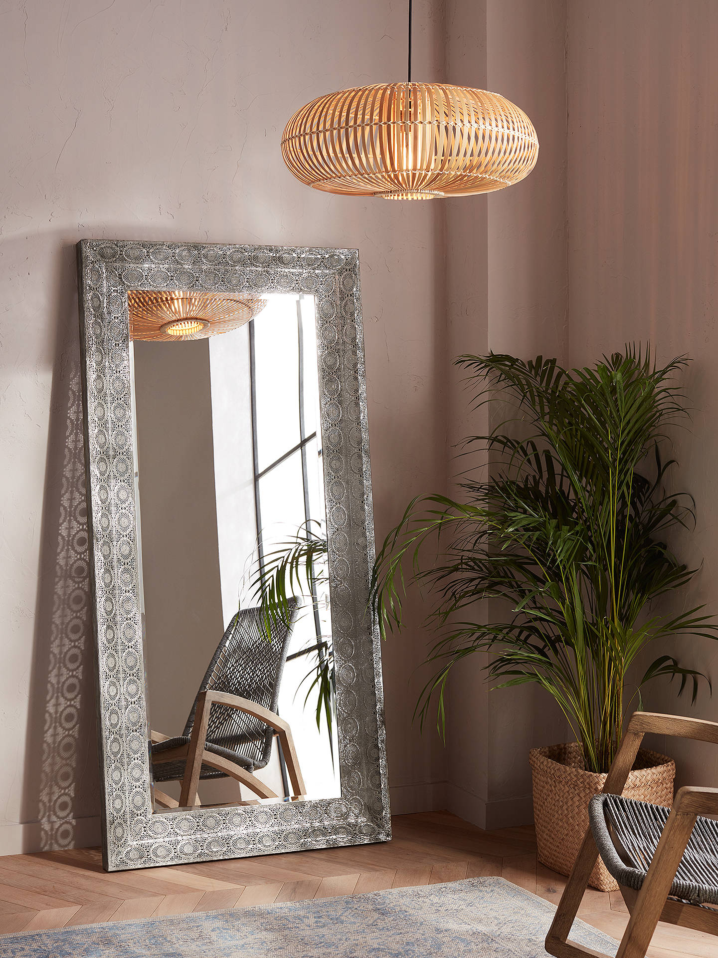 5f02e0be19a4 ... Buy Libra Filigree Large Leaner Mirror, Dark Grey, 165 x 80cm Online at  johnlewis