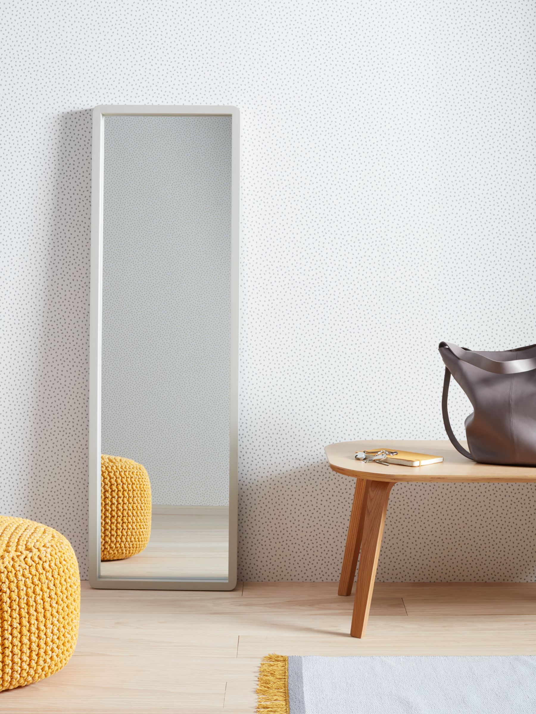House By John Lewis Rounded Corner Full Length Mirror 140 X 40cm Grey At John Lewis Partners