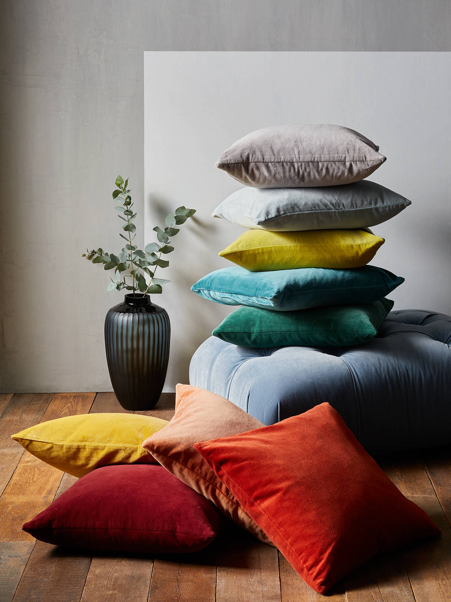 Buy John Lewis & Partners Cotton Velvet Cushion, Gold Online at johnlewis.com