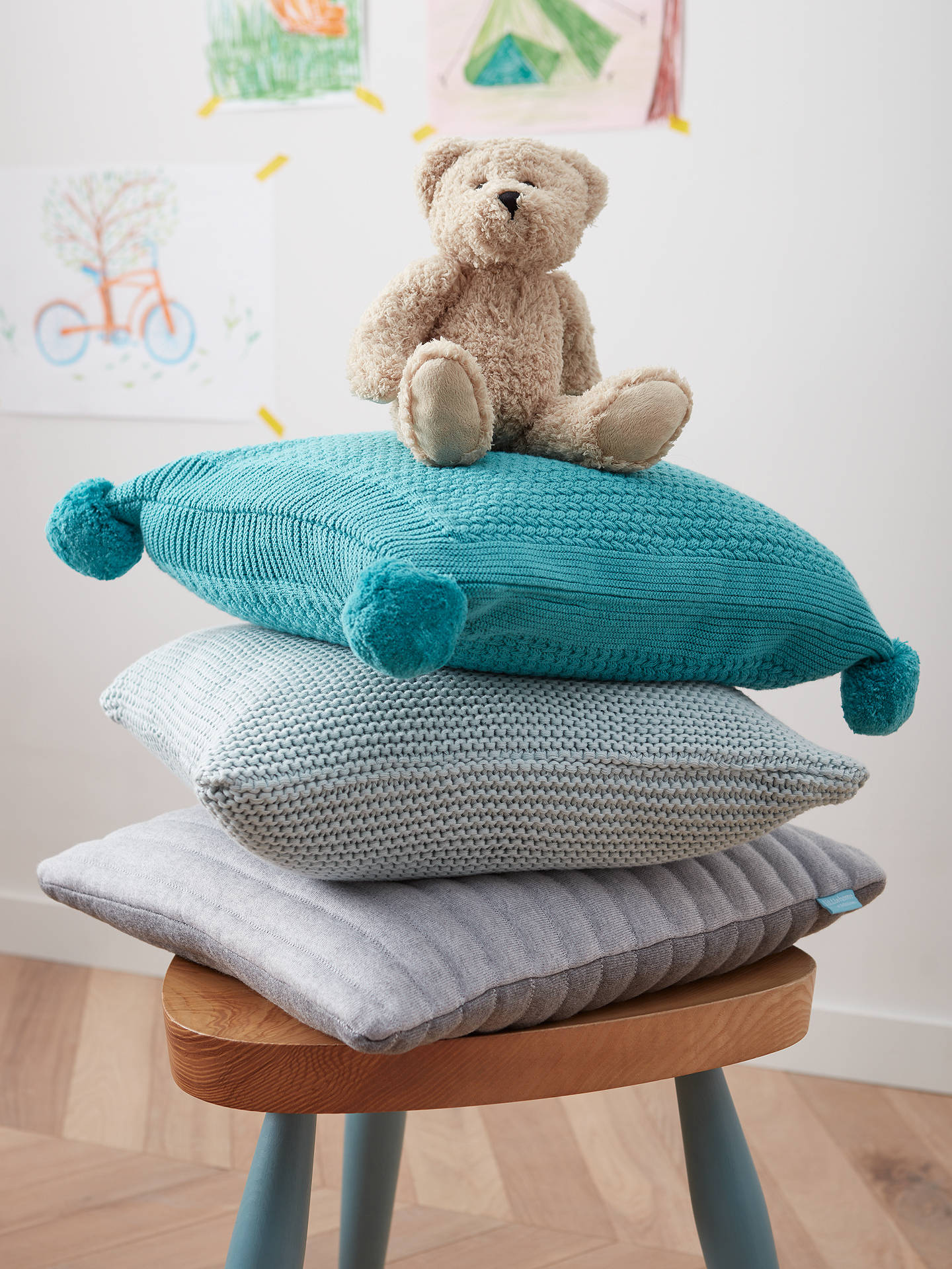 Buy little home at John Lewis Jasmin Pom Pom Cushion, Lagoon Online at johnlewis.com