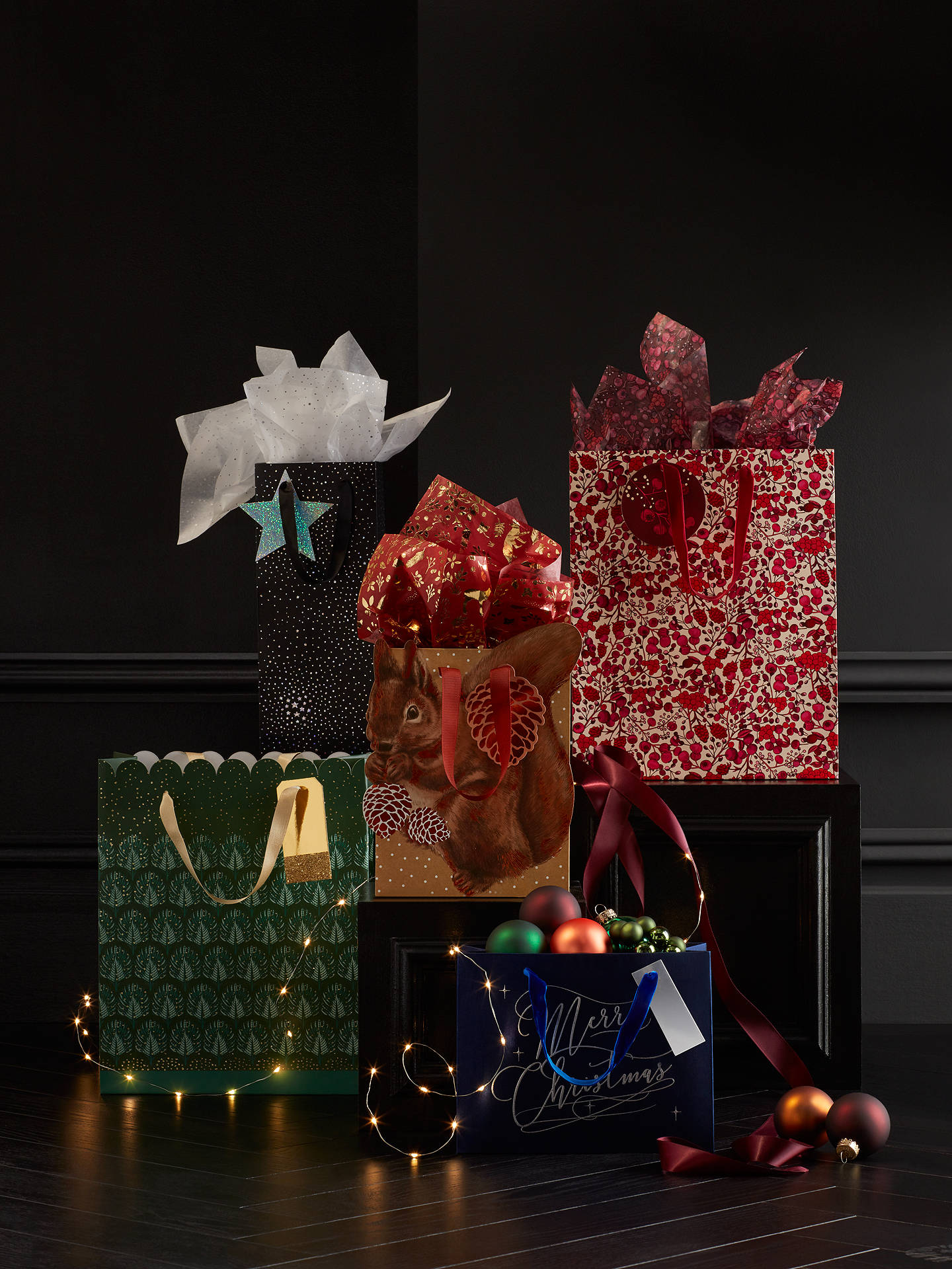 Buy John Lewis & Partners Emerald Palm Luxury Glittered Gift Bag, Medium Online at johnlewis.com