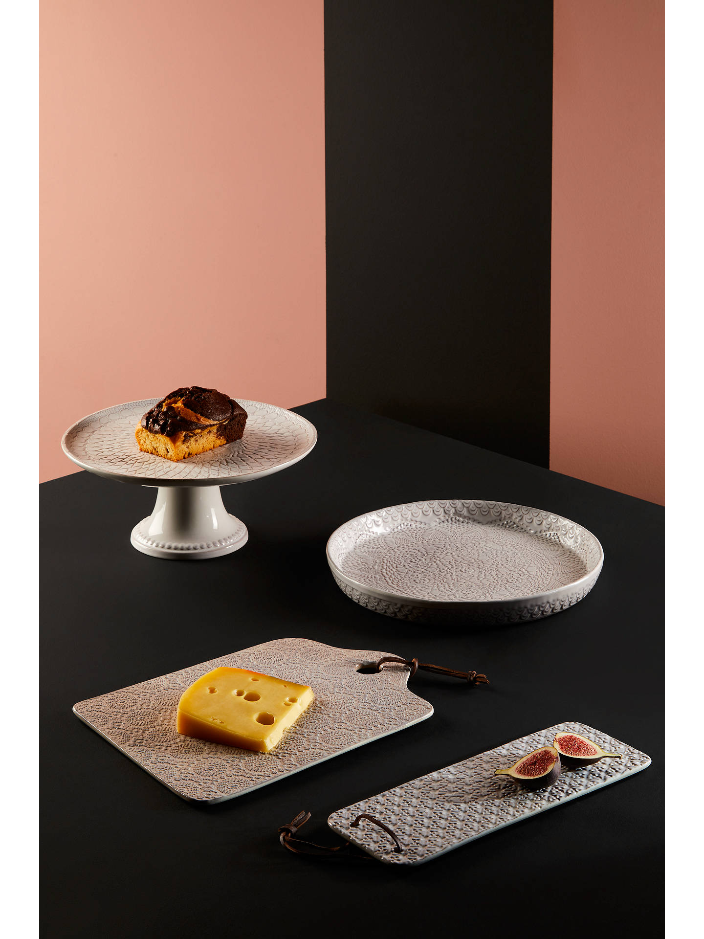 BuyJohn Lewis & Partners Embossed Long Cheeseboard, White, L32cm Online at johnlewis.com