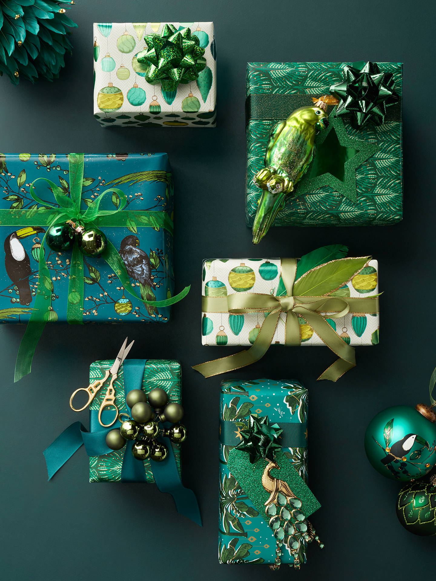 Buy John Lewis & Partners Emerald Bauble Toucan Gift Wrap, 3m Online at johnlewis.com