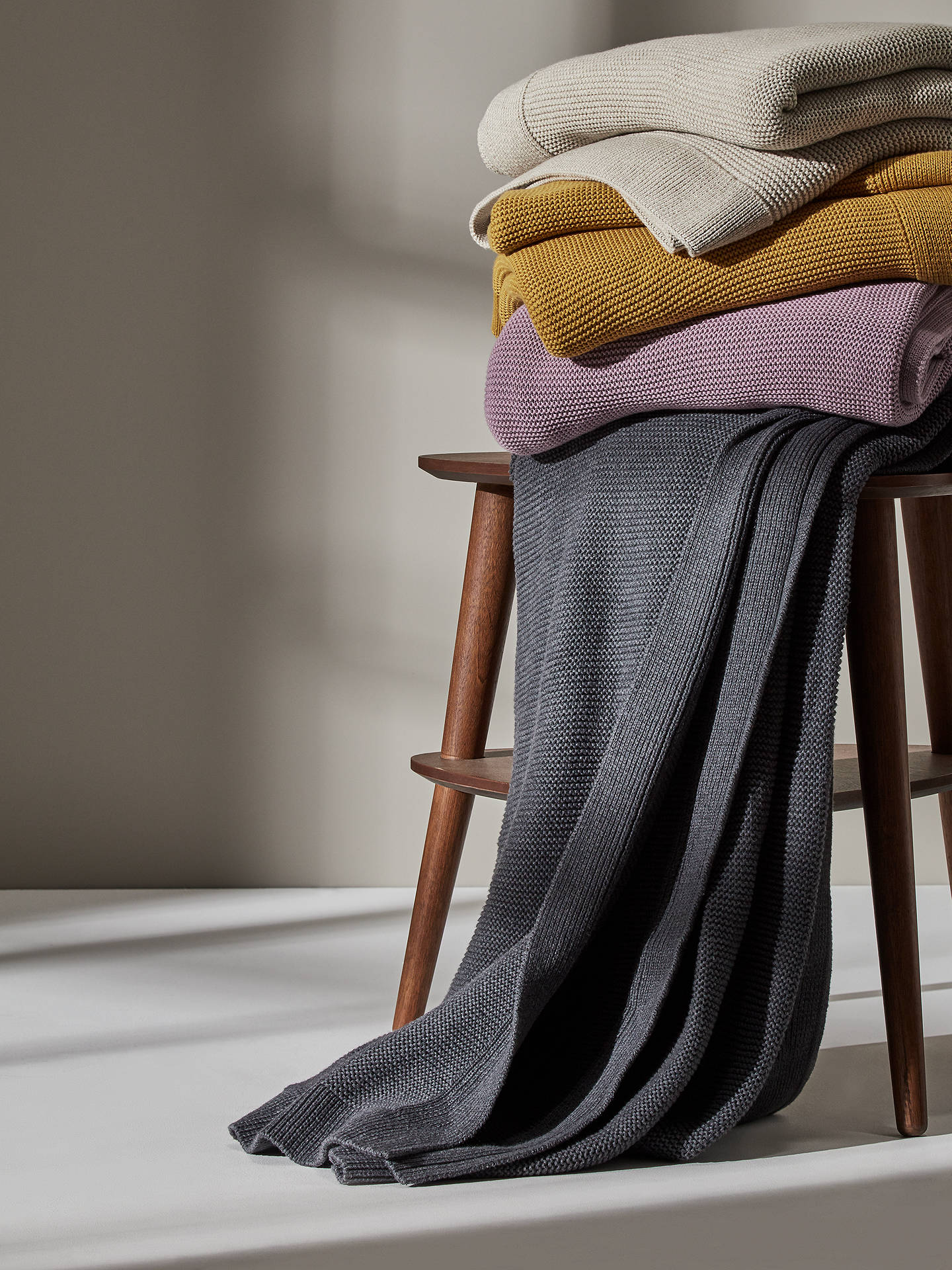 Buy John Lewis & Partners Rye Knit Throw, Mustard Online at johnlewis.com