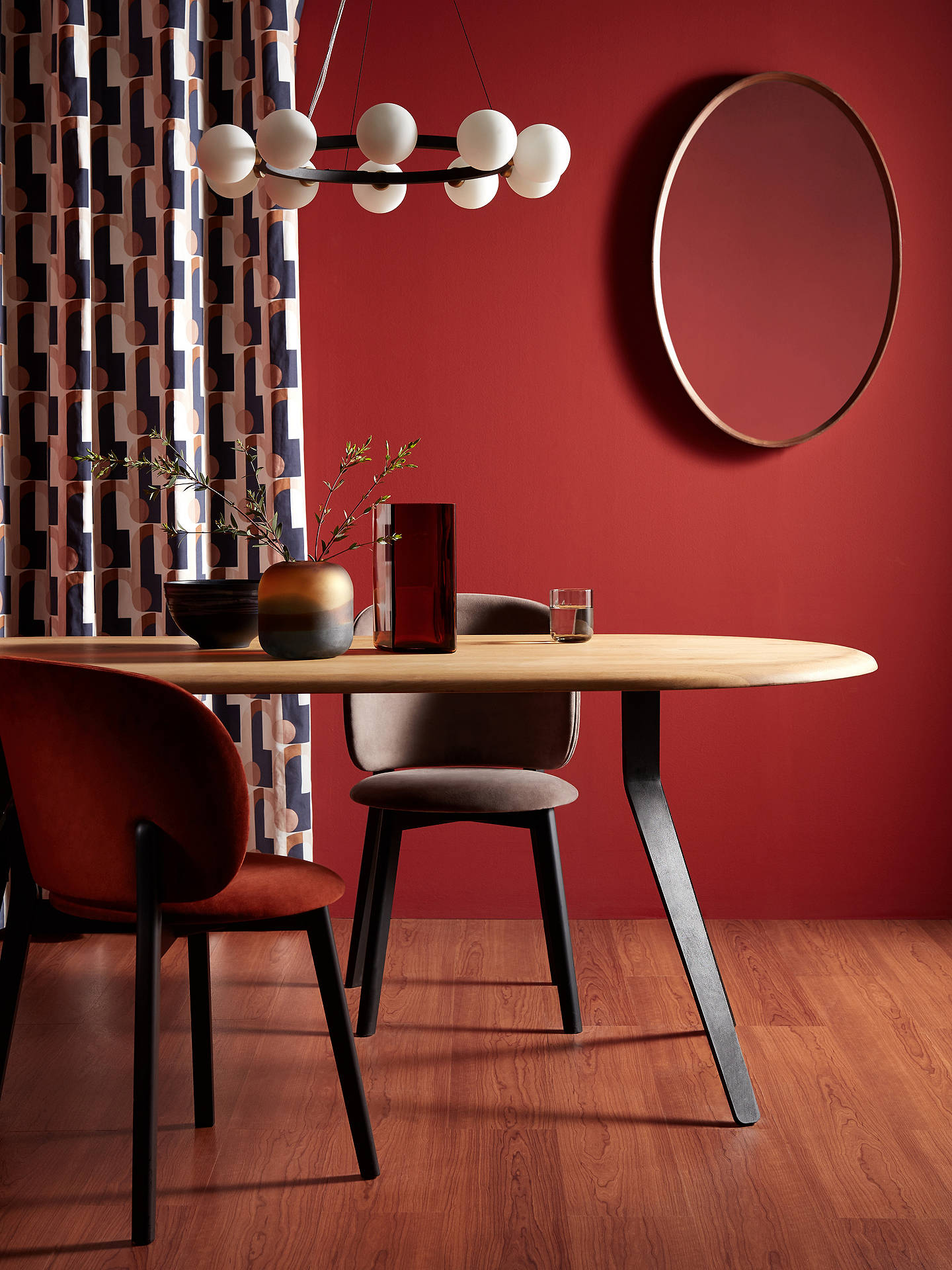 Buy John Lewis & Partners Astrid Oval Mirror, Walnut Wood, 90 x 60cm Online at johnlewis.com