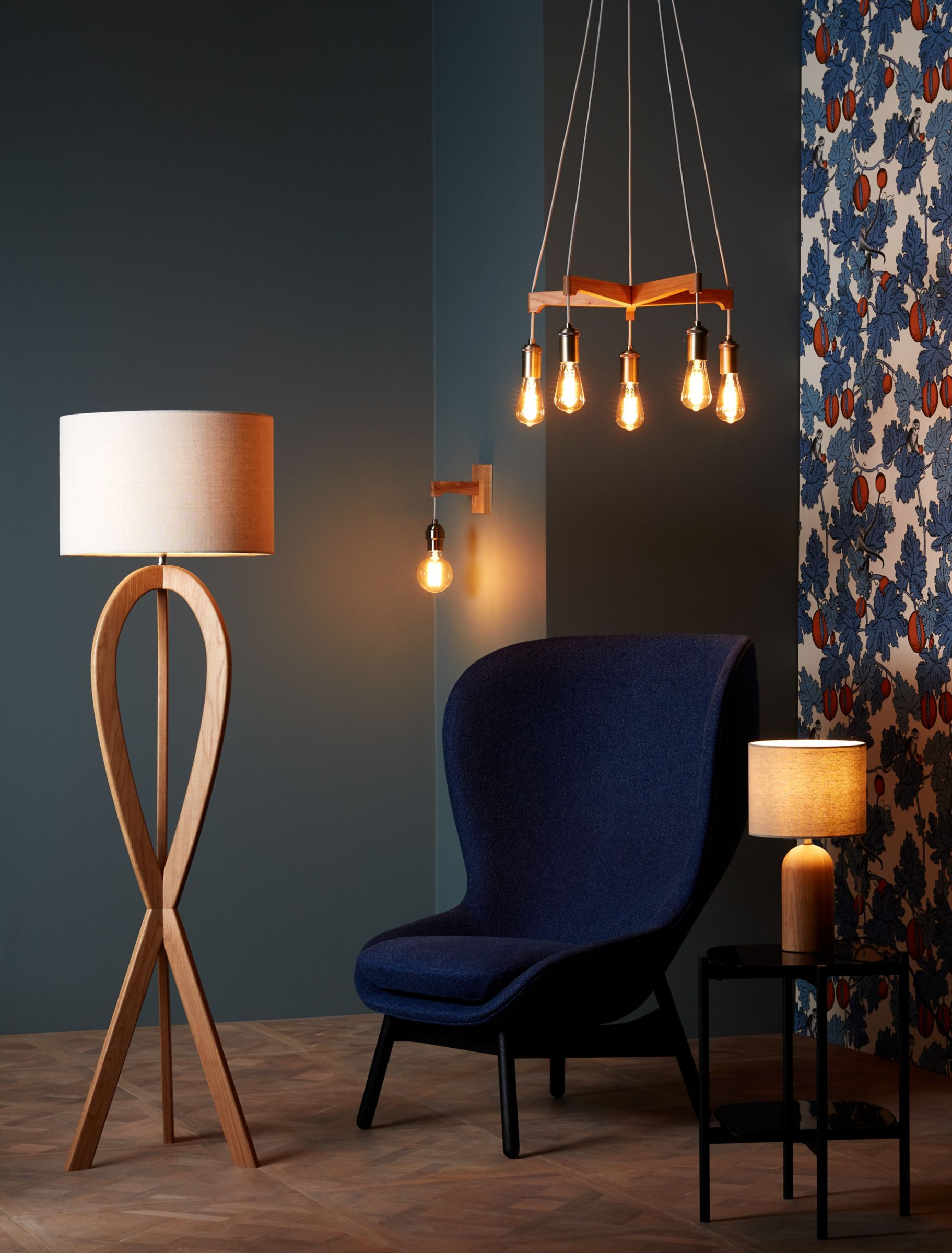 Floor lamps and overhead lighting