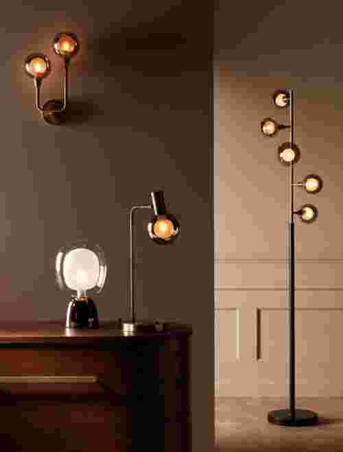 floor lamps, wall lamps and desk lamps