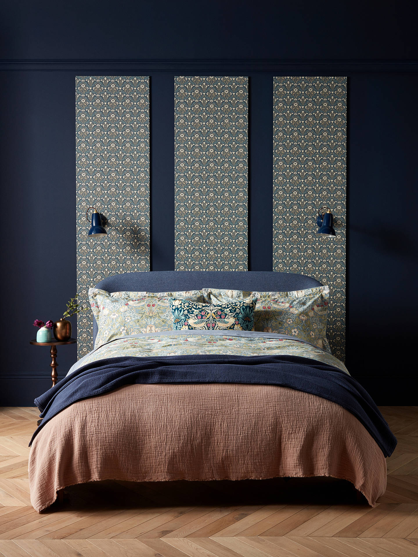 Buy Morris & Co. Strawberry Thief Cotton Oxford Pillowcase, Slate Online at johnlewis.com