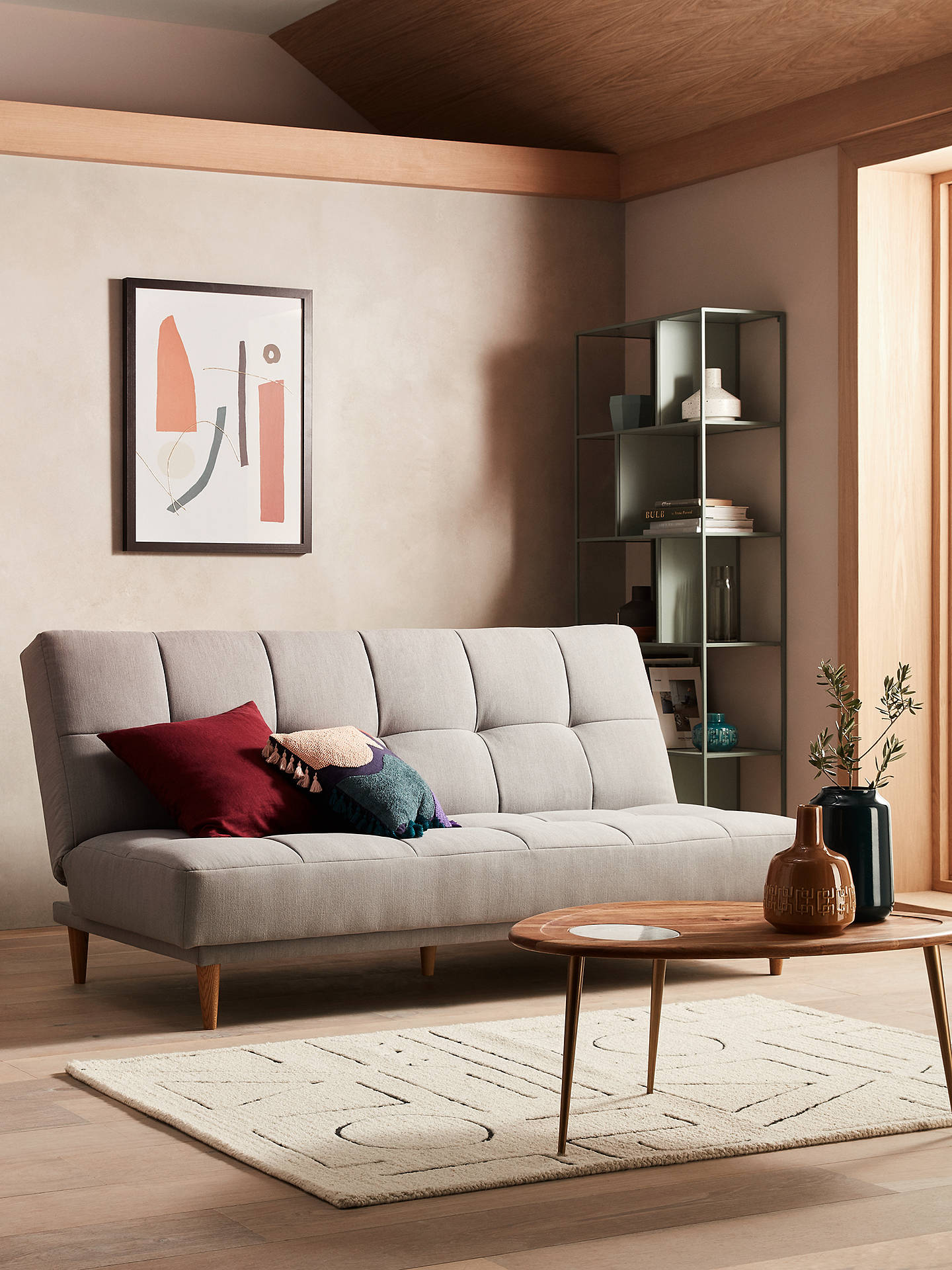 Buy John Lewis & Partners Linear Medium 2 Seater Sofa Bed, Light Leg, Topaz Natural Online at johnlewis.com