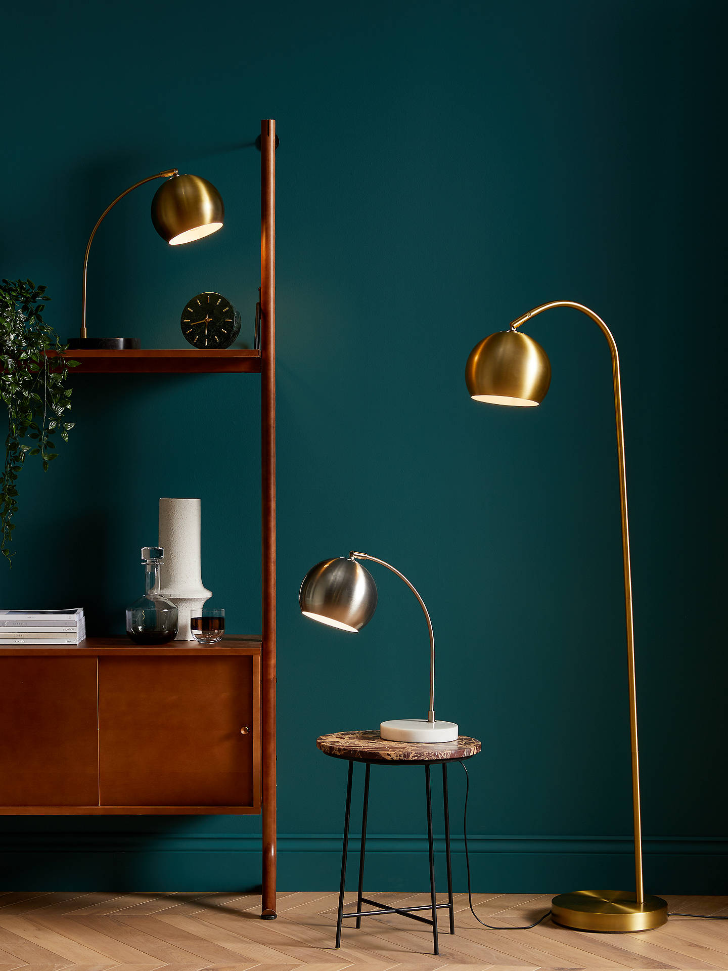 John Lewis & Partners Hector Mini Floor Lamp, Brass