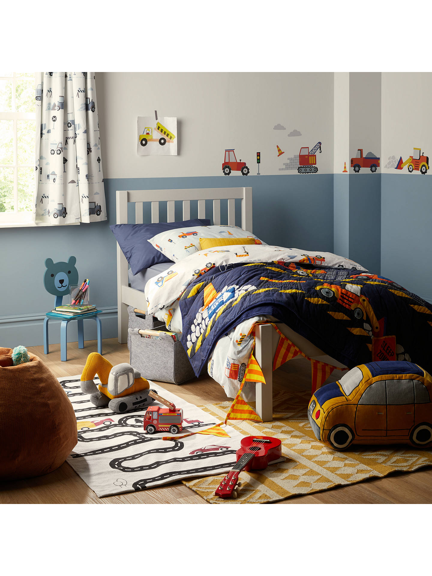 Buy little home at John Lewis Construction Print Pencil Pleat Blackout Children's Curtains, Multi, W117 x Drop 137cm Online at johnlewis.com