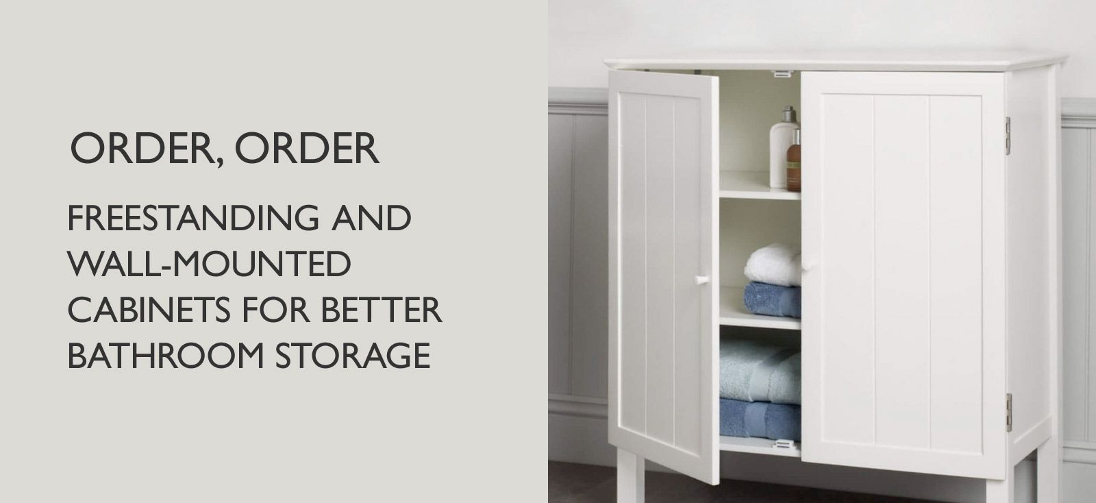 Freestanding and wall-mounted cabinets for better bathroom storage