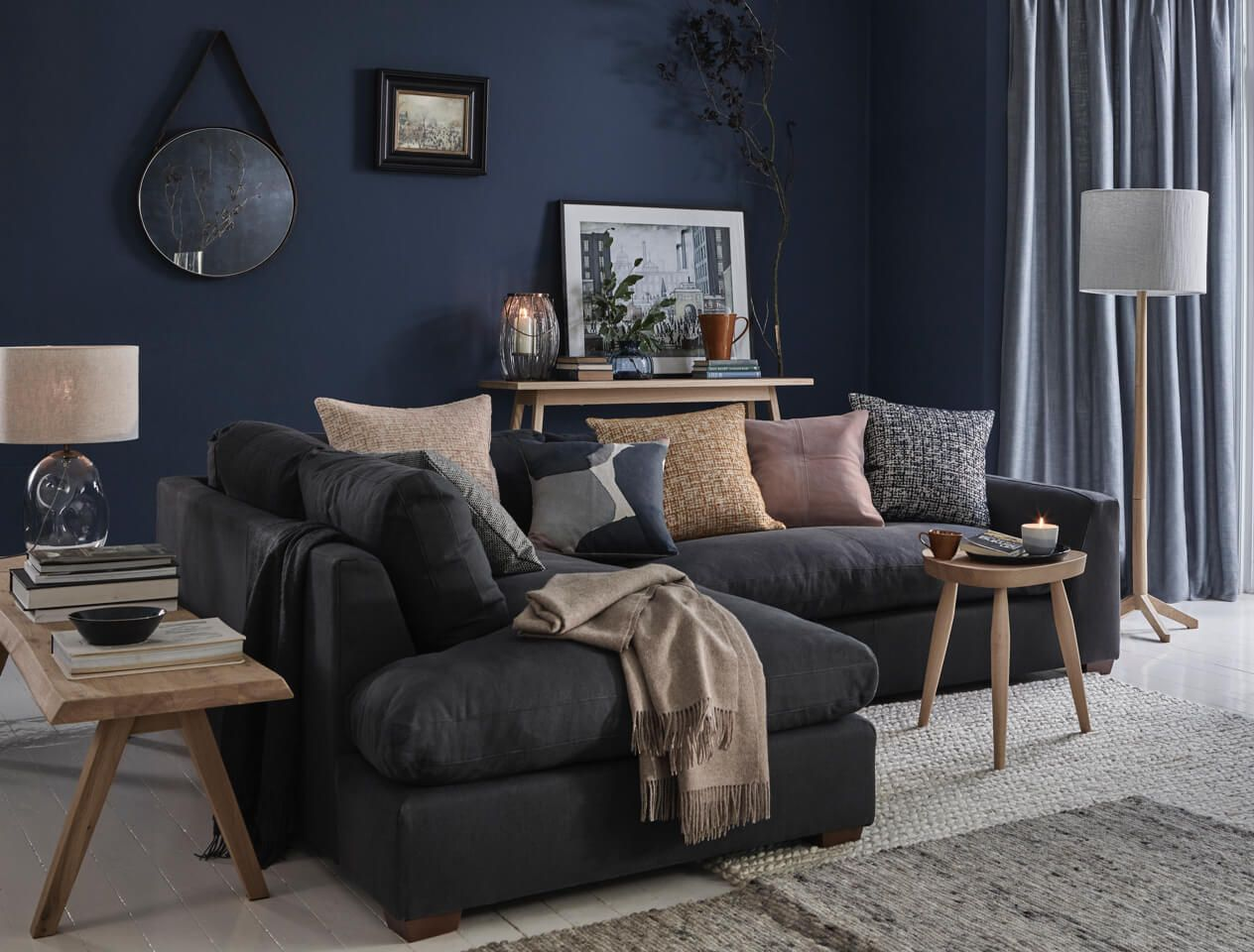 incredible blue grey living room | The Edit