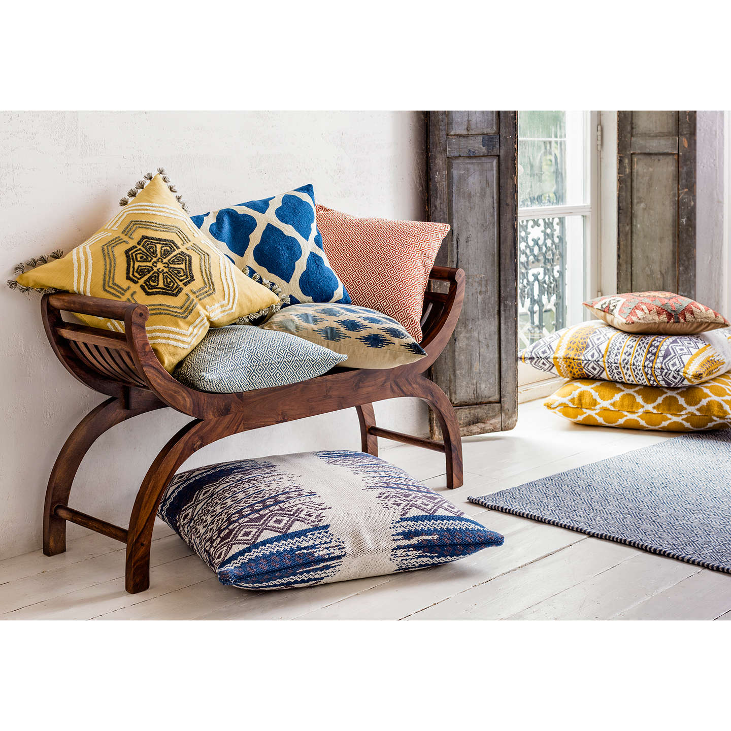 BuyJohn Lewis Ikat Ombre Cushion, Indian Blue Online at johnlewis.com