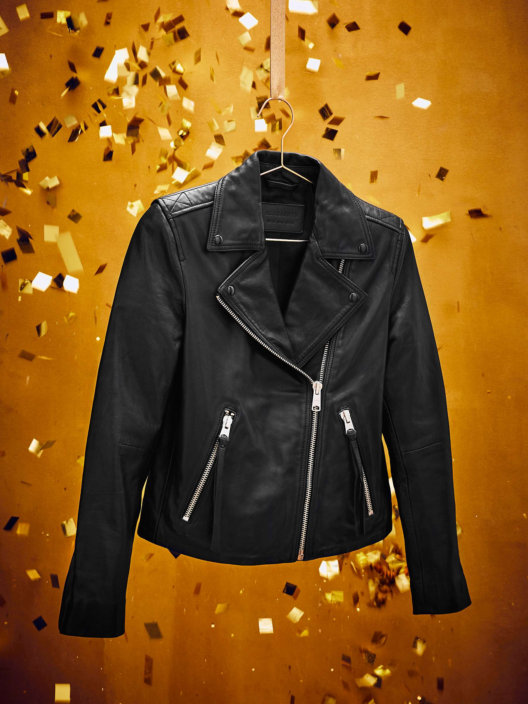 All Saints Dalby Leather Biker Jacket, Black by John Lewis