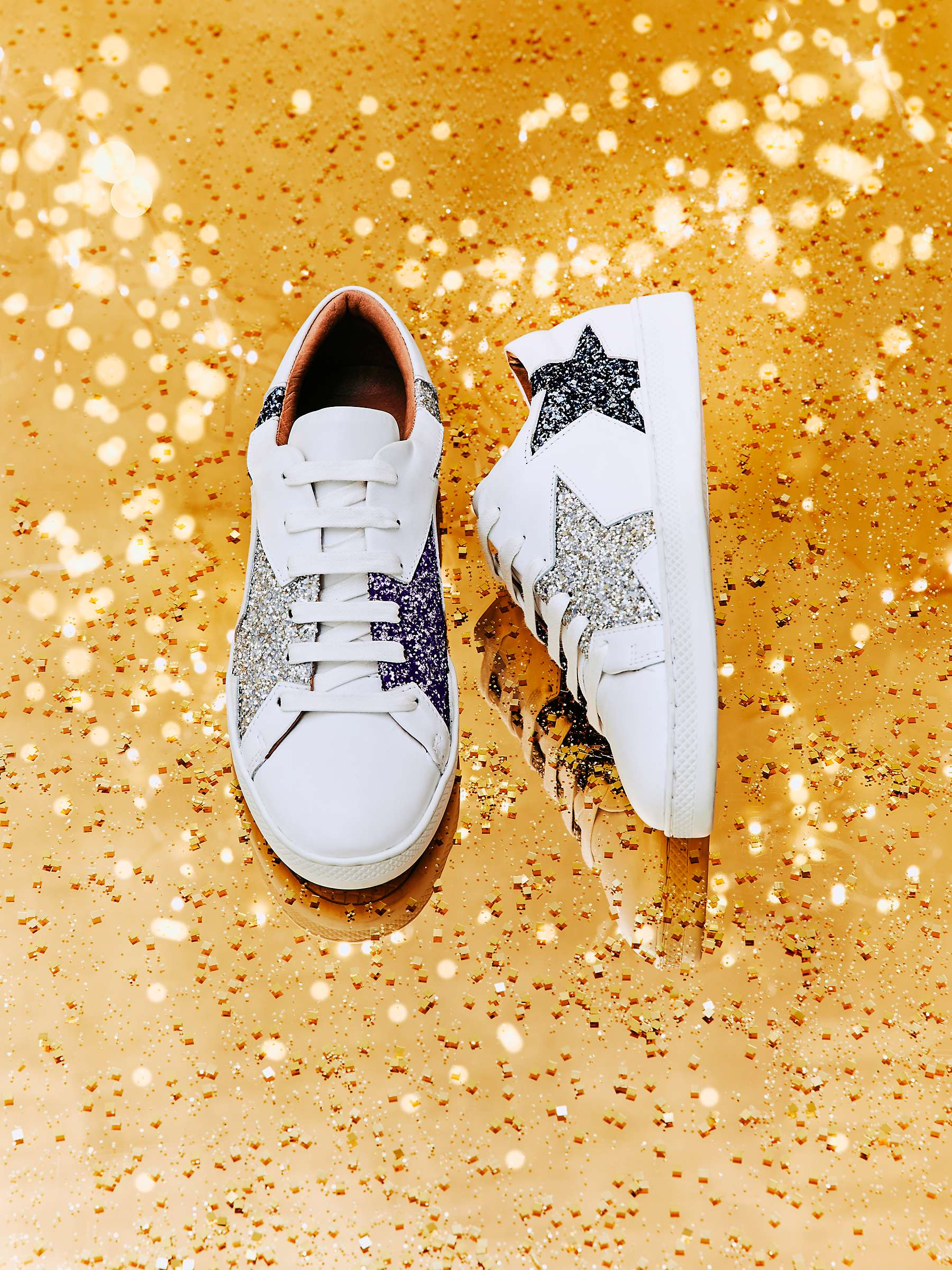 And/Or Edie Star Trainers, White Leather by John Lewis