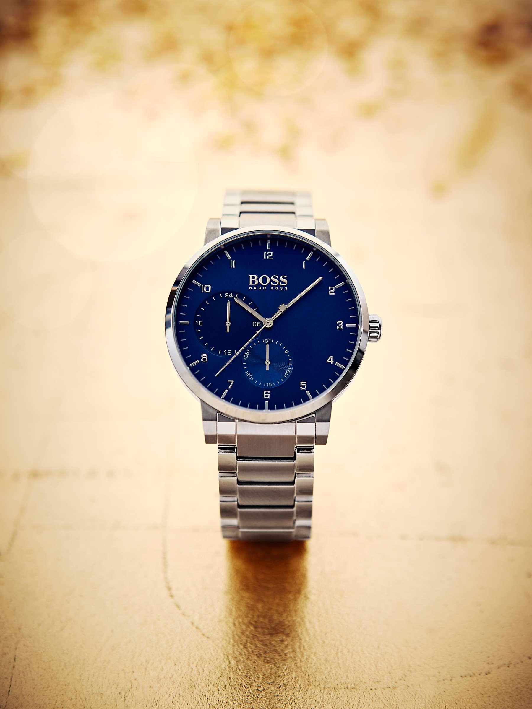 Hugo Boss Men's Oxygen Bracelet Strap Watch, Silver/Blue 1513597 by John Lewis