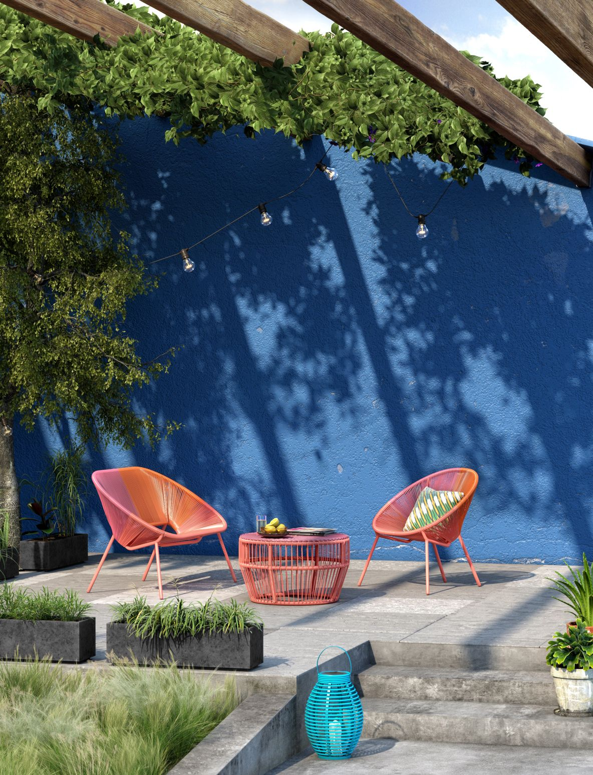 An outdoor seating set in orange against a blue wall
