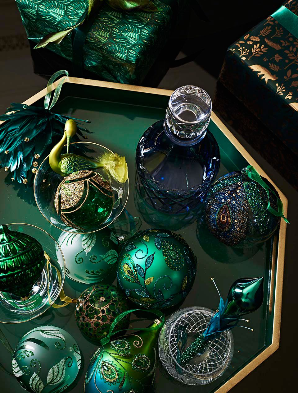 Baubles clustered on a table