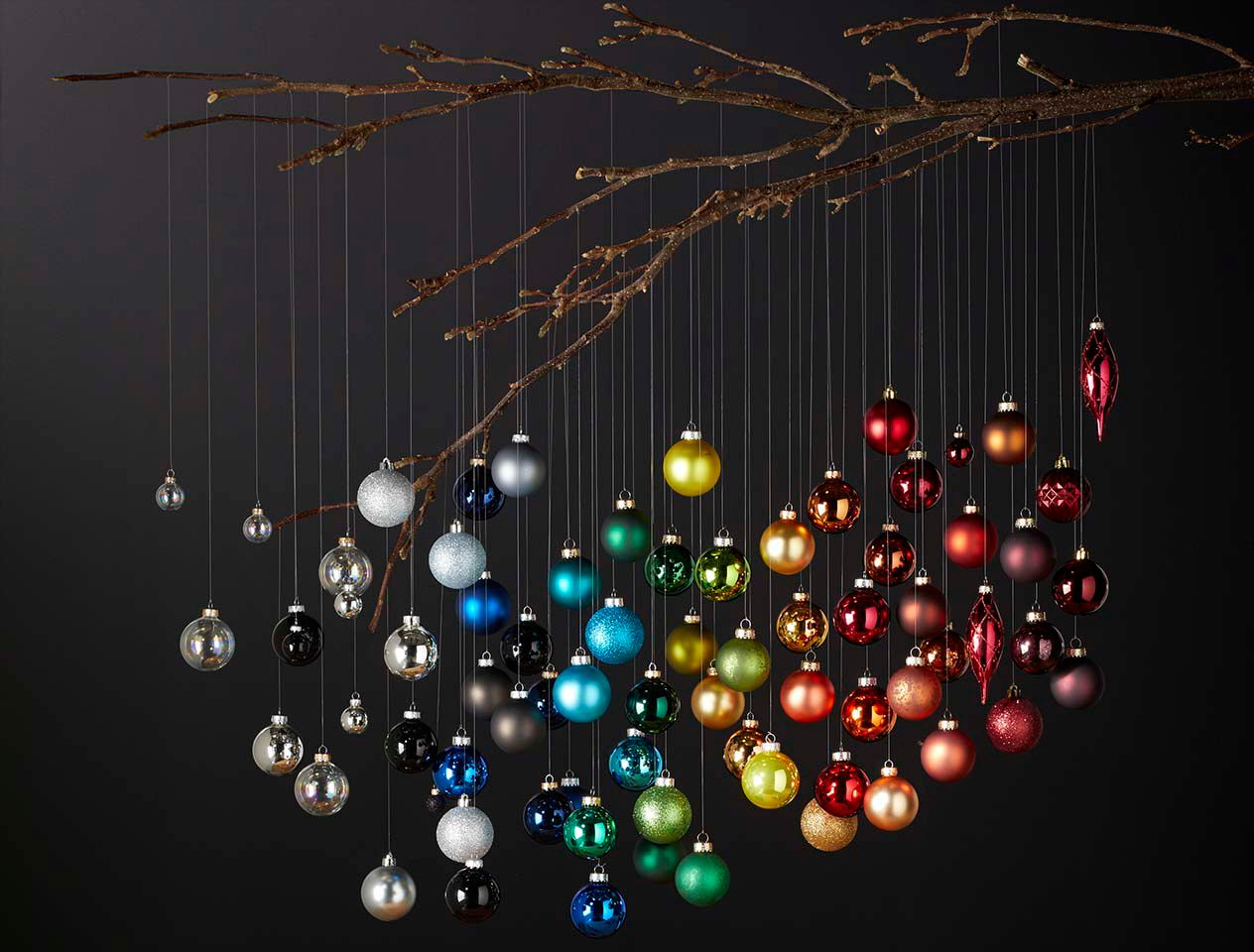 Baubles hanging from a tree